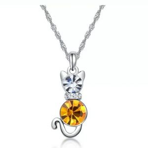 New Kitten Charm Yellow Crystal Silver Necklace.